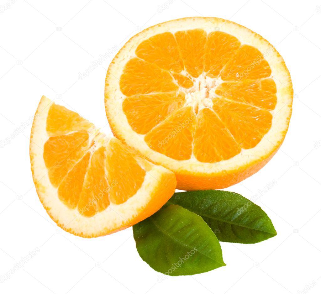 close up corta fruta naranja con hojas foto de stock alekcey 2837112. Black Bedroom Furniture Sets. Home Design Ideas