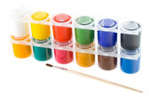 Set of gouache paints with brush — Stock Photo