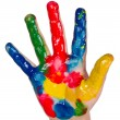 Painted child hand — Stock Photo
