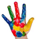 Painted child hand — Stock Photo