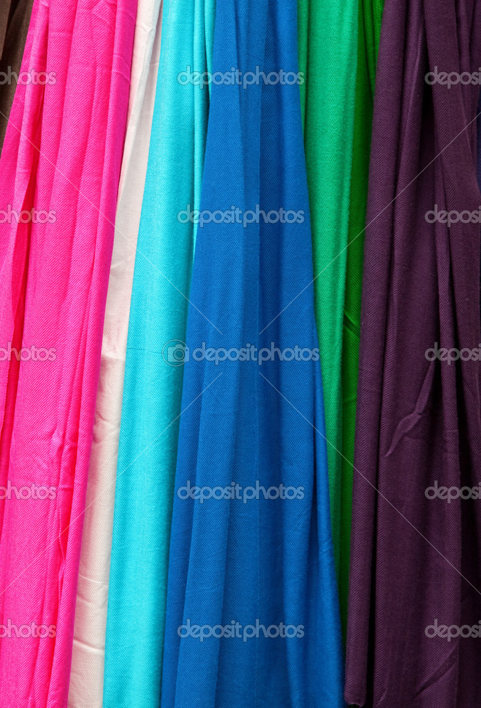 Colorful fabric samples in the shop — Stock Photo #2879914