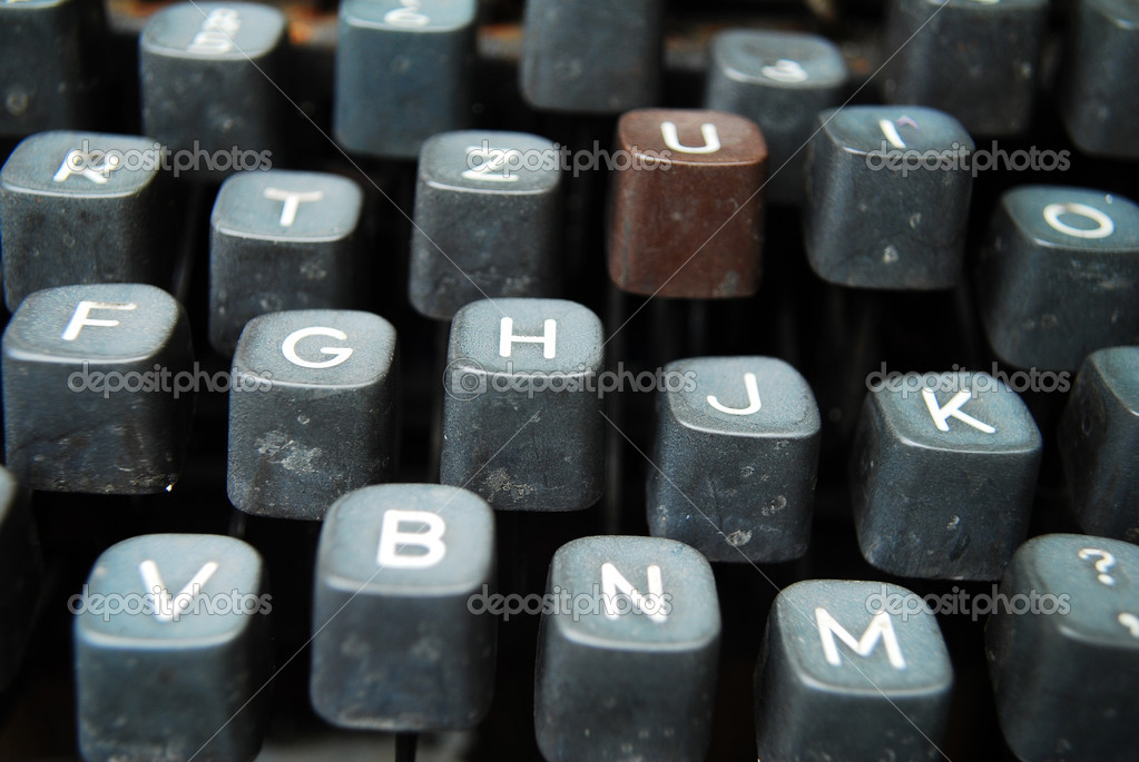 Detail of a black vintage typewriter close up on keys — Stock Photo #3455473