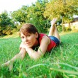 Girl in green grass — Stock Photo #3603443