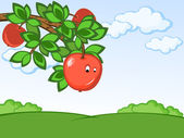 Comic apple — Stock Vector