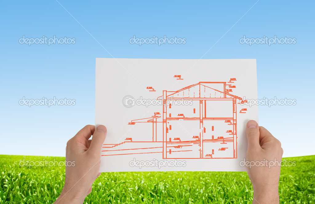 Hands with new house outline — Stock Photo #2746613