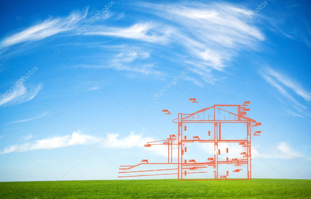 New house outline over idyllic background  Stock Photo #2746616