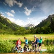 Biking in mountains — Stock Photo