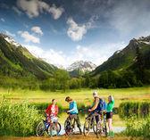 Biking in mountains — Stock Photo