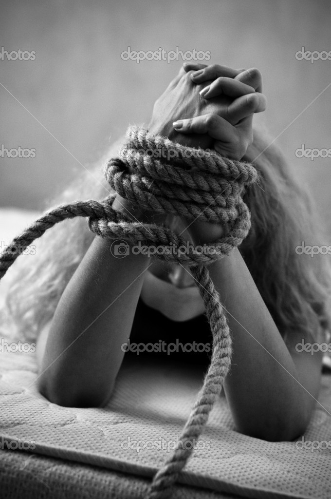 Abused woman black and white  Stock Photo #3913862