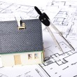 House on plans - Stockfoto