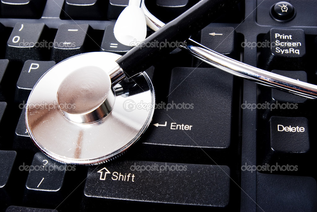 Stethoscop on keyboard with enter button — Stock Photo #3131800