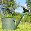 Watering can on grass - Stock Photo