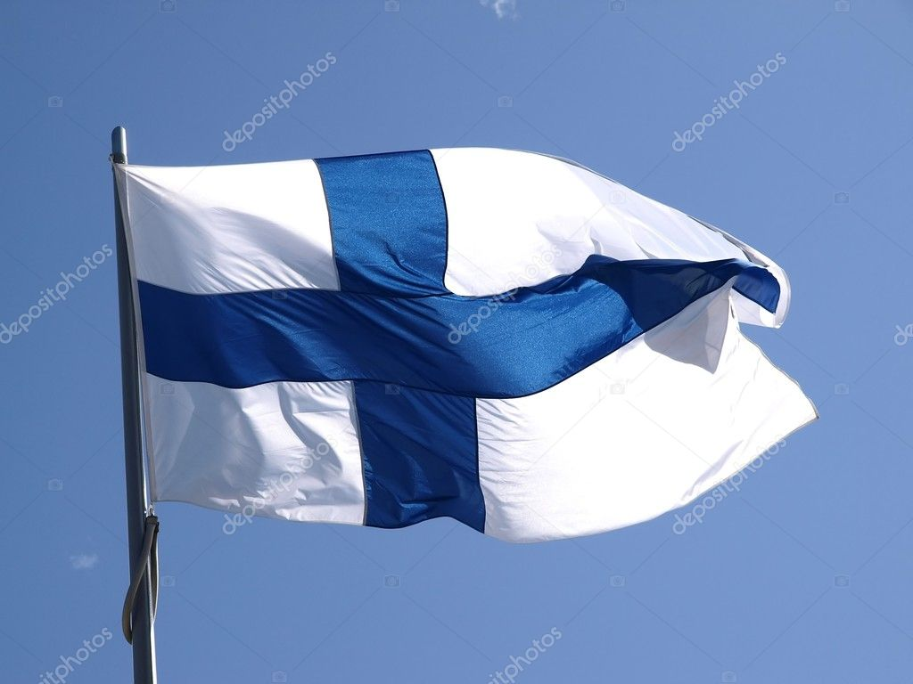 The finnish flag in the wind   Stock Photo #2964070