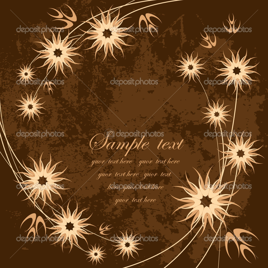 Card with stylized brown flowers — Stock Vector #2762807