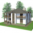 3d model home with trees — Stock Photo