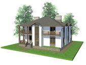 3d modeli ağaçları ile ev — Stok fotoğraf