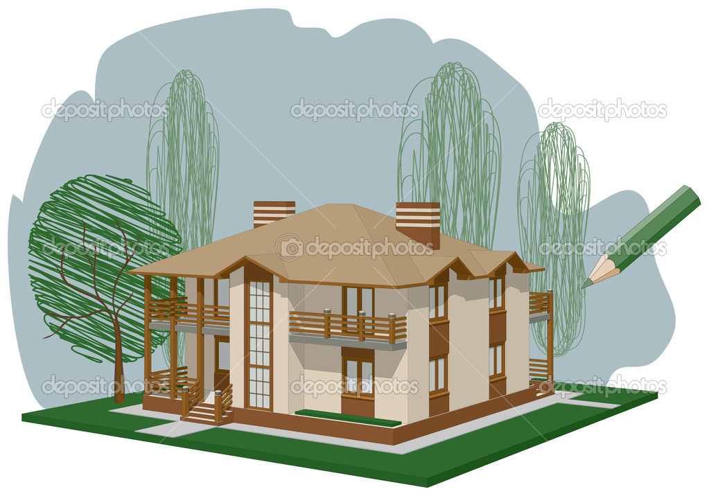 Drawn house  Stock Vector #3334235
