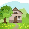 Royalty-Free Stock Vector Image: Illustration of isolated cartoon house with tree