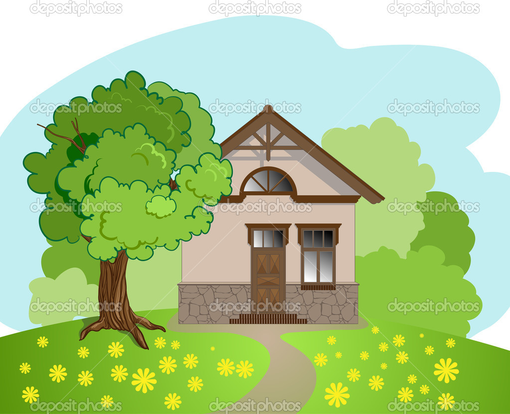 Illustration Of Isolated Cartoon House With Tree Stock