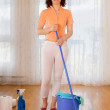 Stock Photo: Woman doing house work - housekeeping