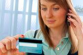 Credit card phone shopping — Stock Photo