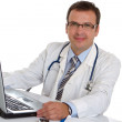 Male doctor write medical reports - Stockfoto