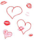 Lipstick hearts and lips print — Stock Photo