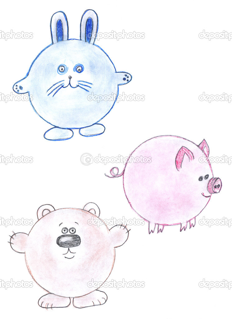 Round funny animals drawing stock image