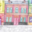 City colored drawing, concept — Stock Photo