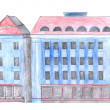 Blue house drawing — Stock Photo