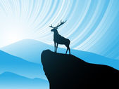 Deer on mountain — Stock Vector