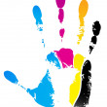 Cmyk handprint — Stock Vector