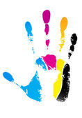 Cmyk handprint — Stock Vector