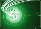 Digital bakgrund med hand — Stockvektor