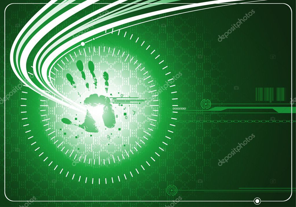 Digital green background with handprint and energy wave — Stock Vector #2930809