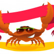 Crab with ribbon — Imagen vectorial