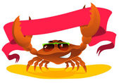 Crab with ribbon — Stock Vector