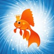Goldfish on shine blue — Imagen vectorial