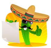 Cactus mexicain avec défilement — Vecteur