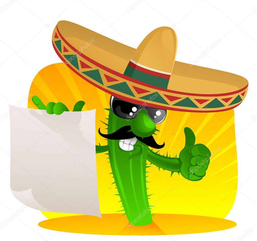 Cactus in sombrero shows a scrolls — Stock Vector #3545709