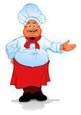 Tlustý kuchař kuchař — Stock vektor