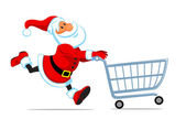 Santa run with shopping cart — Stock Vector