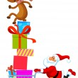 Santa with shopping cart full of gifts — Stock Vector #3893845