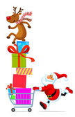 Santa with shopping cart full of gifts — Stock Vector