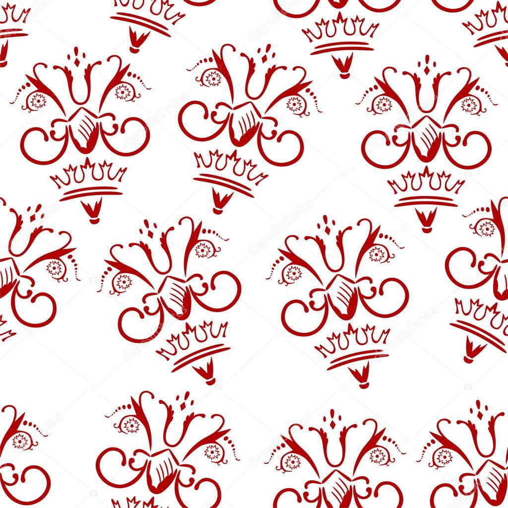 在白色背景上的红色花纹美丽