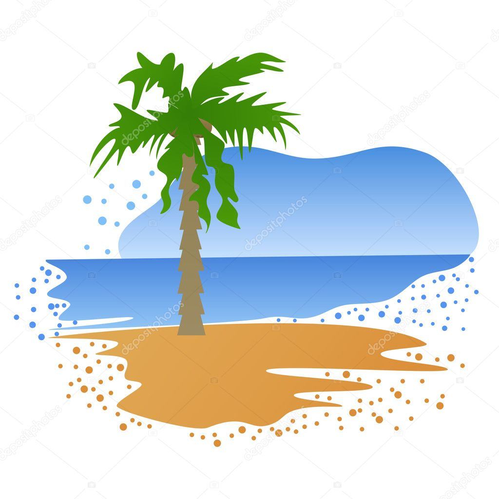Beautiful landscape of summer tropical Island — Stock Vector #3124257