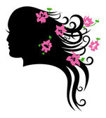 Face of beautiful girl and her luxuriant hair — Stock Vector