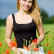 Beautiful woman trough poppy field - Stock Photo