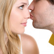 Young happy couple (kissing) — Stock Photo
