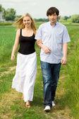 Couple on summer walk — Stock Photo